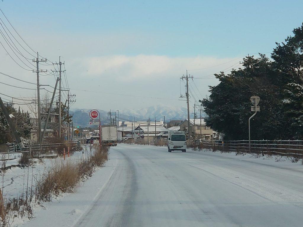 凍結した国道190号